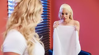 Two gorgeous blondes Luna Star and Phoenix Marie fuck with a black strapon