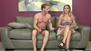 Amazing sofa action with his lusty cum-craving babe