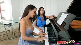 Dillion Harper threesome action with her piano teacher