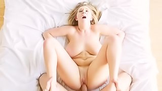 Blonde with huge boobs gets fucked