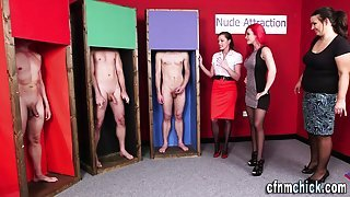 Glam clothed dominas tug