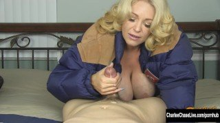 Blonde MILF Charlee Chase Winter Jacket Blowjob!
