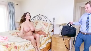 Two long haired brunettes sharing a dick