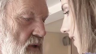 Old Young -Fucked by Teen she licks thick old man penis