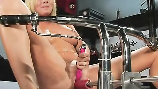 Luscious blonde with juicy boobs gets her pussy toyed