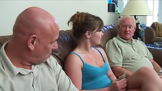 Cassidy Essence is fucked by two old men in a threesome