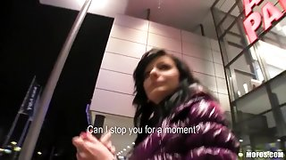 Shy Czech hotty is convinced the flash & fuck in public for specie