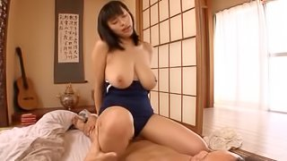 Hana Haruna pulls her swimsuit aside to get her pussy banged