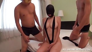 Japanese AV Model in threesome gets anal and creampie