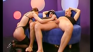 Fabulous dark-haired slut with big perky tits enjoying a mind-shattering foursome