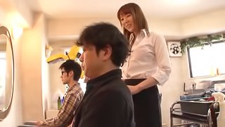 Japanese girlfriend doing some cock riding in the small bathroom