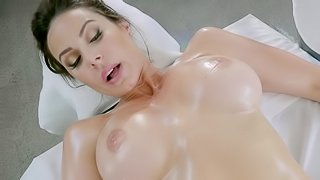 Two hot women are with a dude on the massage table, fucking