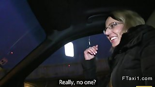 Blonde fucked in a trunk in fake taxi at night