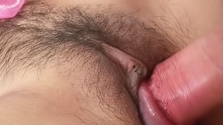 Skinny Asian chick lets a kinky guy drill her hairy pussy