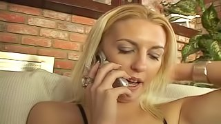 Blonde caught masturbating has lesbian sex with her friend