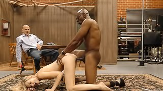 Husband has to watch as his wife fucks a hung black guy