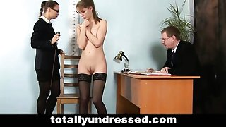 Dildo job interview for a secretary