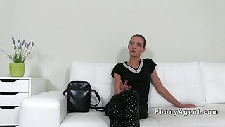 Slim amateur toyed and fucked on casting