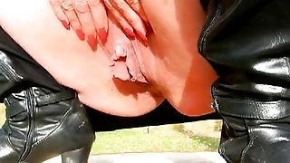 Large clit and big labia in backyard...