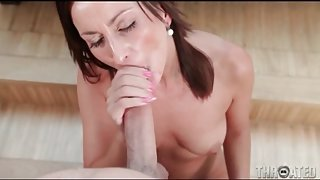 Pretty girl gives great blowjob to big cock