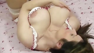 Mom in shiny lipstick has amazing big natural tits