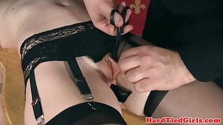 Tied BDSM submissive analfucked with dildo