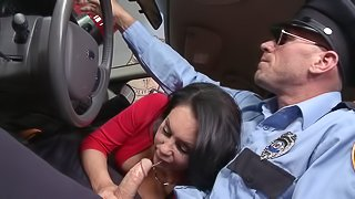 Bad girl Dayton Rains fucks a cop while he is in uniform