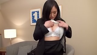 Asian office girl enjoys fingering and gets her pussy banged