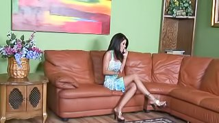 Delightful brunette with long hair getting rough face fucking in reality shoot