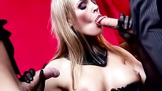 Busty blonde mom in a collar takes part in a kinky bdsm orgy