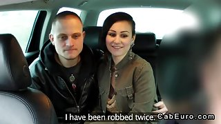 Fake taxi driver in threesome with couple