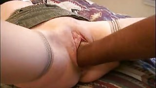 Slutty wife   with fist, cock and cucumber