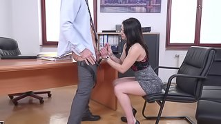 Hard pussy banging for a beautiful shaved brunette Emily Brix