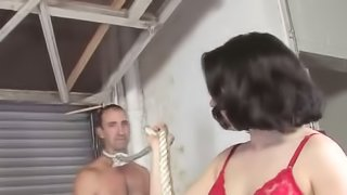 Dirty Brunette Wife Tied Her Husband And Gets Fucked By Big Black Cock