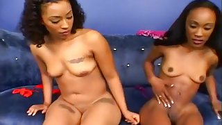 Two Black Amateurs in Hot Threesome