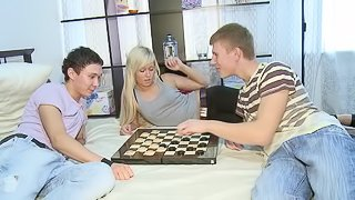She cuckolds her man while she gets fucked by another guy