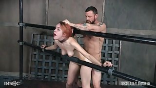 Amarna Miller chained and fucked by two men