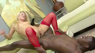 Will Heather's tight asshole handle such a big ebony wang?