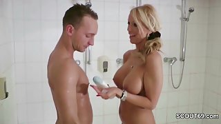 German Step-Mom Caught Him in Shower and Helps with HJ
