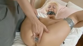 Submissive blonde squirts from energetic fingers and hard penis