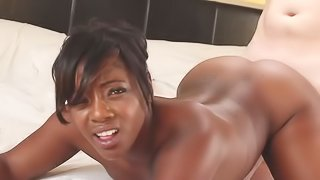 Big ass ebony loves white cock in her