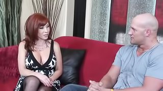 Vivacious Cougar With Big Tits Sucking A Stranger's Huge Cock On Her Couch