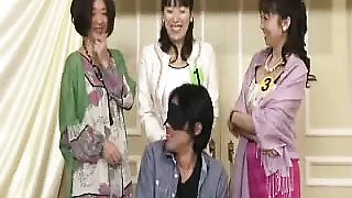 Horny Asian gals in a group setting take turns gobbling up