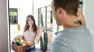 Athletic hottie with a hairy pussy Riley Reid likes hardcore sex in the kitchen