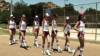 Hot baseball playing bitches step up to the plate for a game
