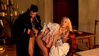 Spunky babe gets her hairy pussy pounded doggystyle in wild ffm threesome