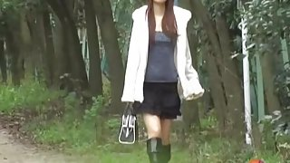 Amazing public nudity video of long-legged hot oriental brunette