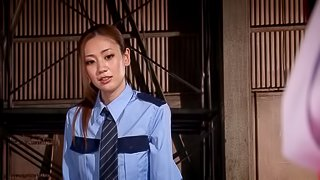 Babe in uniform giving multiple heavy dicks blowjob before getting facial cumshot