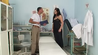 Naughty doctor gets to fuck brunette girl Lellou in the office