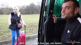 Blonde fucked in van keep fucking stranger when police check her